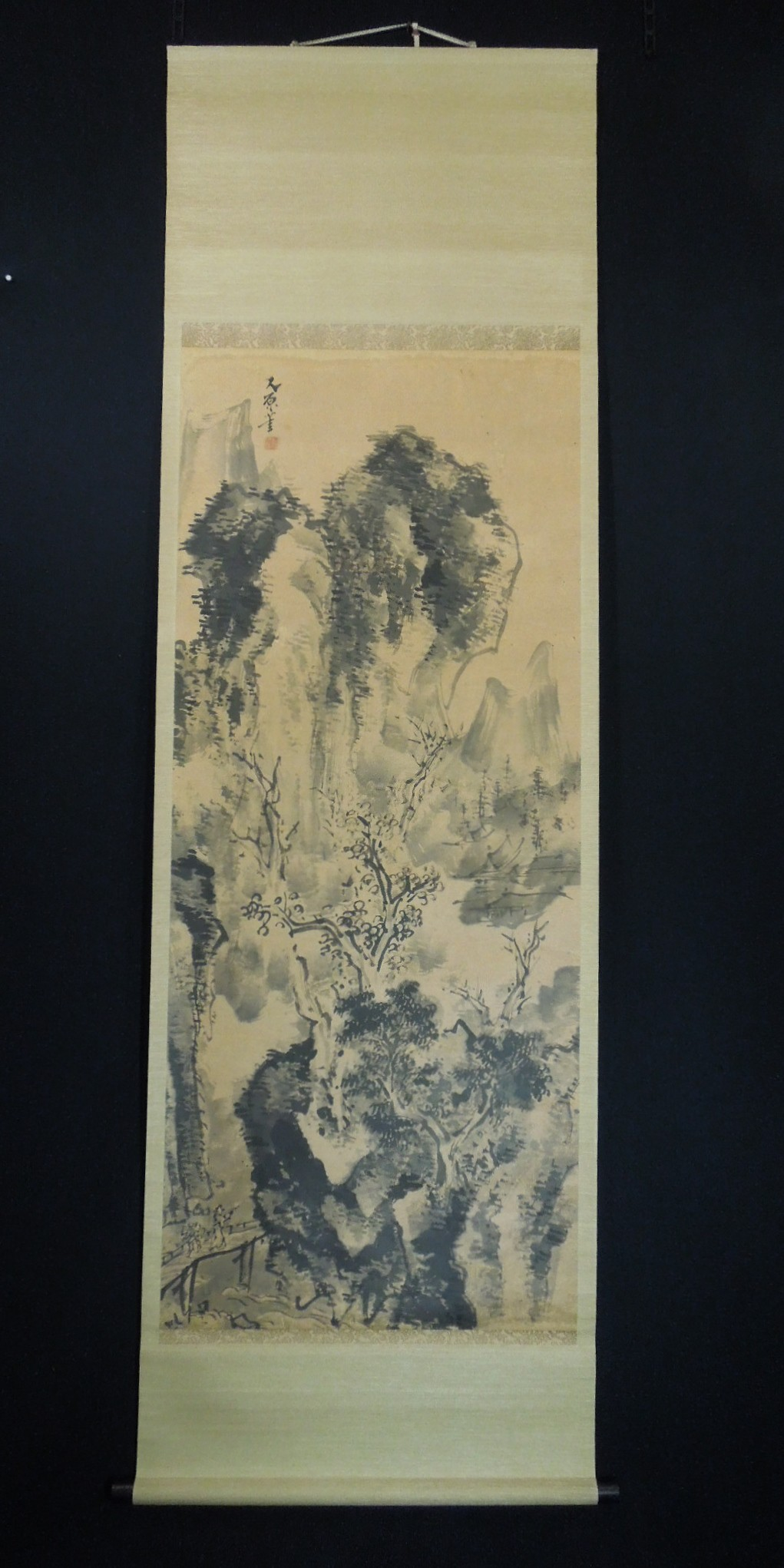 japanese landscape painting hanging scroll